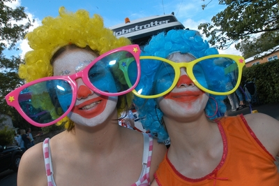 Image of Clown Girls with giant sunglasses