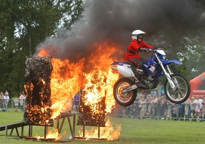 Image of Bike jumping through fire